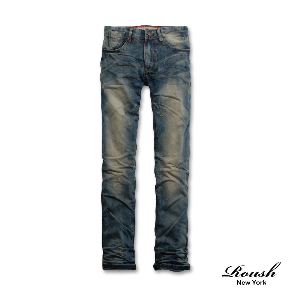 【 Roush 】雙色皮飾後袋刷色牛仔褲