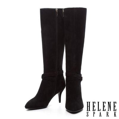 HELENE-SPARK-典雅繫帶造型全真皮尖頭高跟長靴-黑麂皮