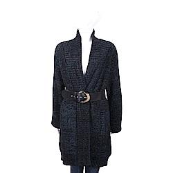 VERSACE 黑藍混色馬海毛長版針織外套(附腰帶)