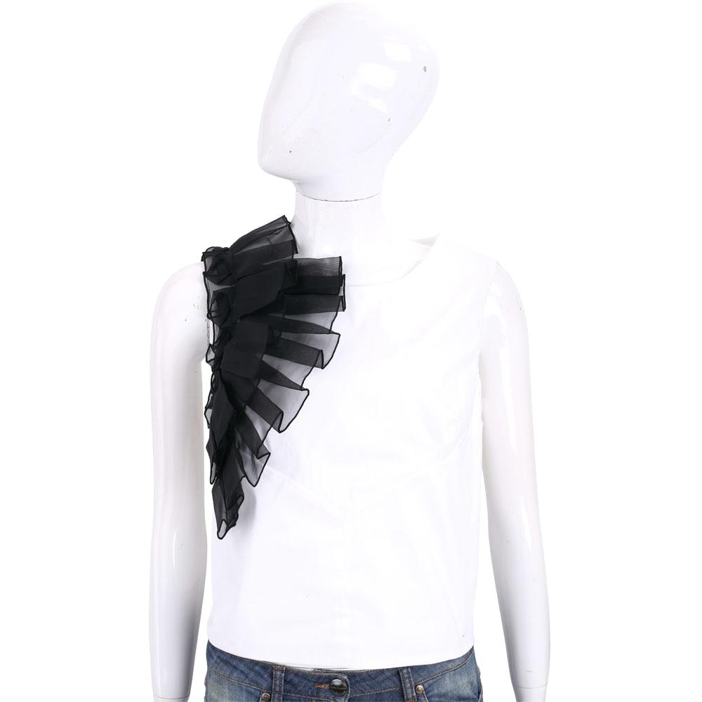 Maria Grazia Severi 白色立體皺褶拼接無袖上衣