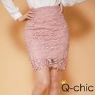 韓系優雅蕾絲提花修身窄裙 (共三色)-Q-chic