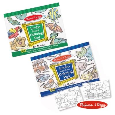美國瑪莉莎 Melissa & Doug 大型兒童繪圖本組合 - 動物 + 藍色男生主題
