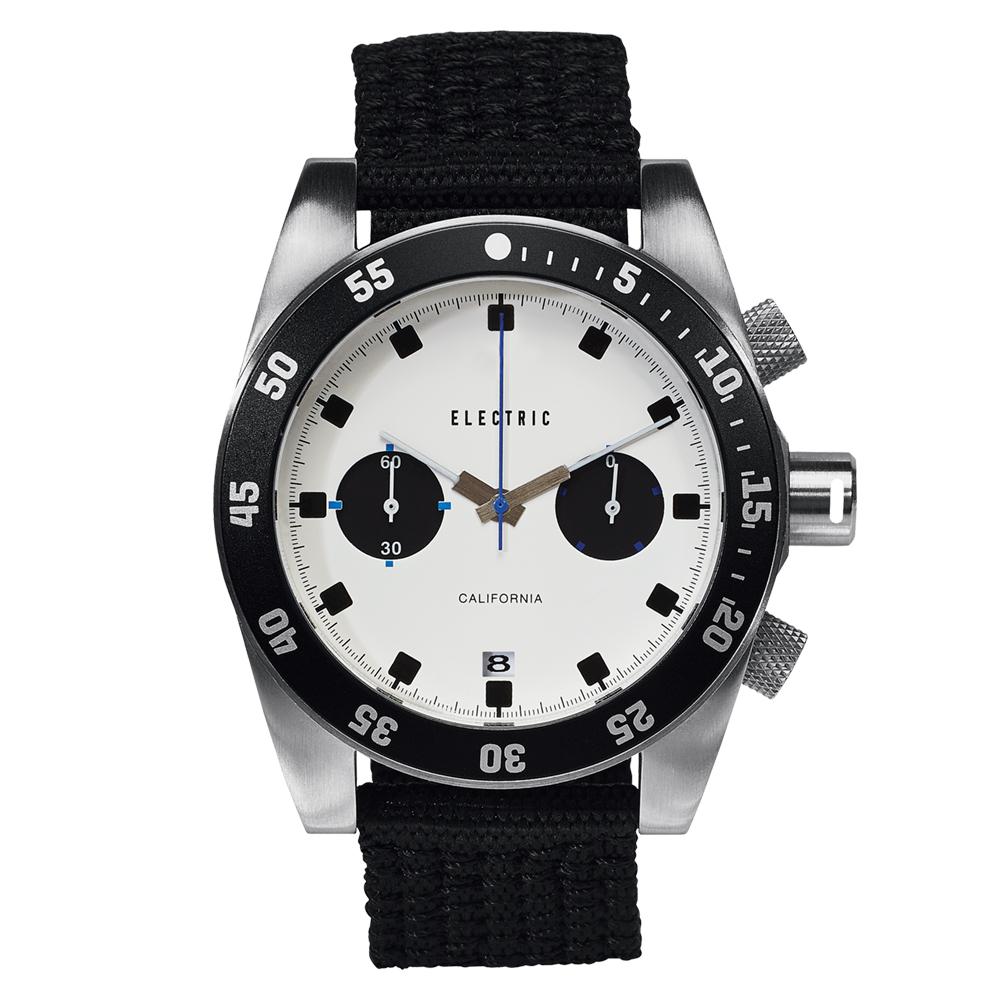 ELECTRIC DW02系列-時尚雙眼設計計時腕錶-白面x黑圈/44.5mm