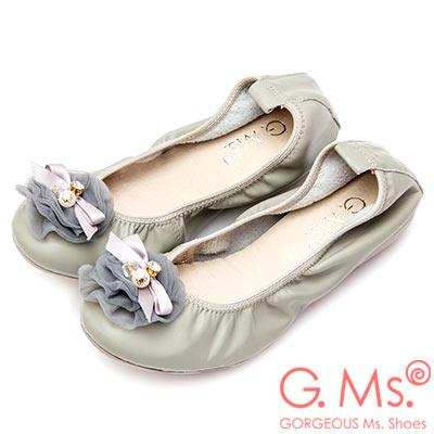 G.Ms. 手工水鑽蝴蝶結網紗牛皮彎折娃娃鞋-灰色