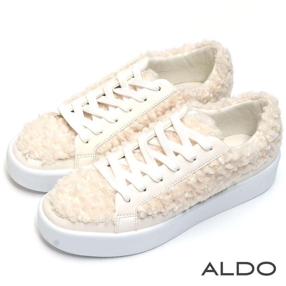 ALDO 原色毛茸茸異材質拼接綁帶休閒鞋~清新白色