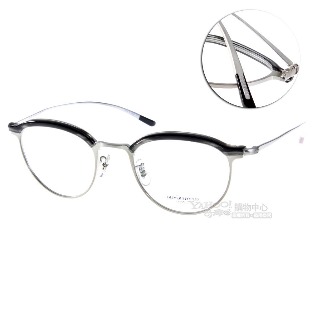 OLIVER PEOPLES眼鏡 限定眉型復古圓框/銀黑#GOLDING 5077