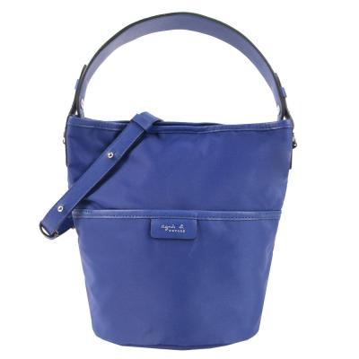 agnes b.簡單尼龍寬把兩用桶包(迷你/藍)