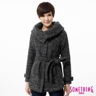 SOMETHING-外套-氣質大翻領繫帶毛呢外套-女-黑灰
