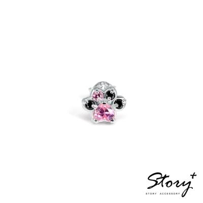 STORY故事銀飾-Pets系列-可愛肉球造型款耳環-白K金粉鑽(單只)