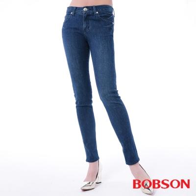 BOBSON 女款低腰膠原蛋白窄管褲-藍色