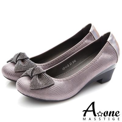 A-one-圓頭細鑽蝴蝶結金屬感粗跟鞋-灰色