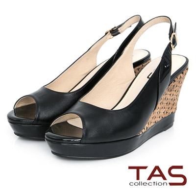 TAS-素面羊皮魚口楔型鞋-時尚黑