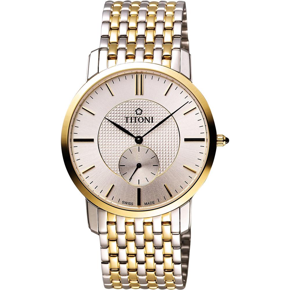 TITONI Slenderline系列紳士風獨立小秒針腕錶-銀x雙色版/38mm