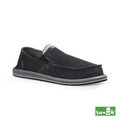 SANUK 口袋系列牛仔帆布懶人鞋-男款(黑色)