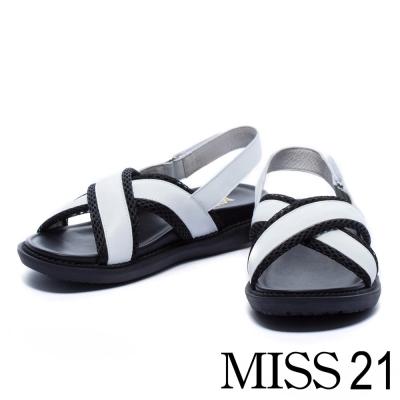 涼鞋 MISS 21 異材質拼接交叉帶厚底涼鞋-白