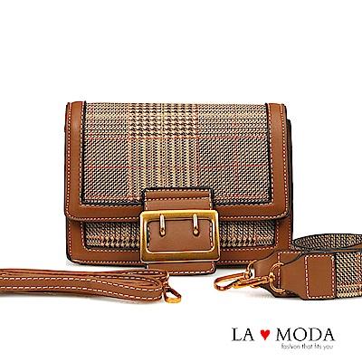 La Moda 大人氣百搭單品千鳥紋肩背斜背小方包(棕)
