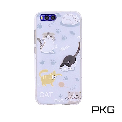 PKG 小米6 彩繪空壓氣囊保護殼-浮雕彩繪-玩耍貓