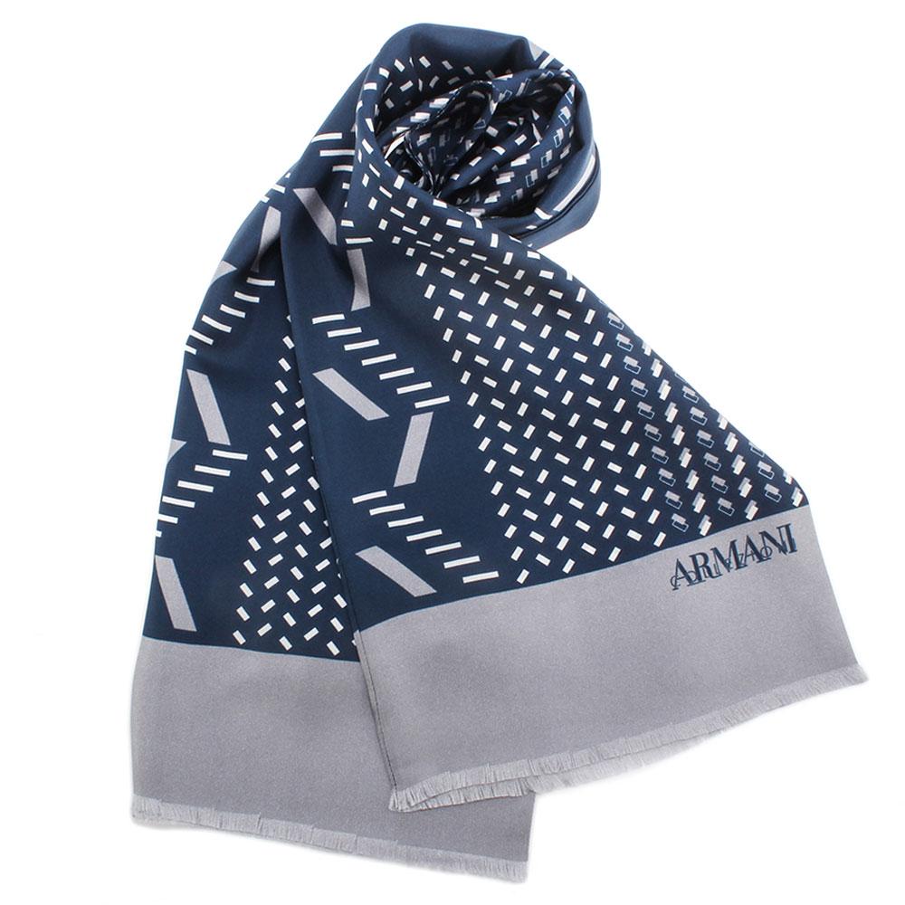 ARMANI COLLEZIONI 時尚幾何碎形雙色拼接真絲圍巾-深藍/灰