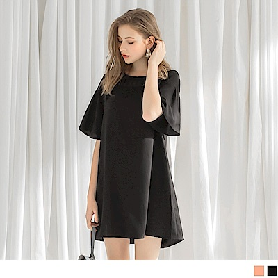 雪紡透膚領拼接小傘襬短袖寬鬆洋裝.2色-OB嚴選