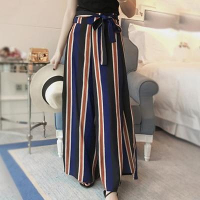 La Belleza藍咖條紋側邊下擺大開叉闊腿褲飄飄長褲