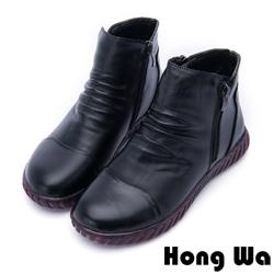 Hong Wa - 素雅時尚拉鍊牛皮休閒踝靴 - 黑