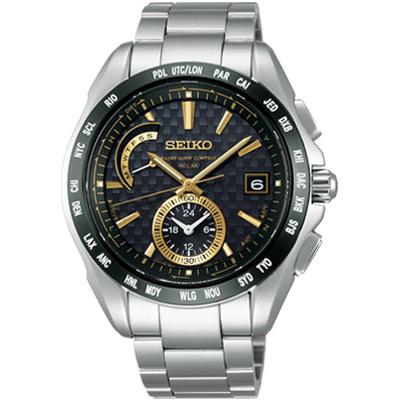SEIKO BRIGHTZ 新四局電波太陽能腕錶(SAGA135J1 )-黑x金色時標/40mm
