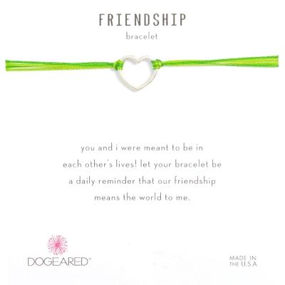 Dogeared Friendship 銀色愛心手鍊 經典墜 亮綠X軍綠 防水繩衝浪手鍊