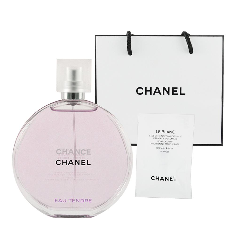 CHANEL香奈兒 CHANCE粉紅甜蜜淡香水100ml 贈提袋及美妝小物