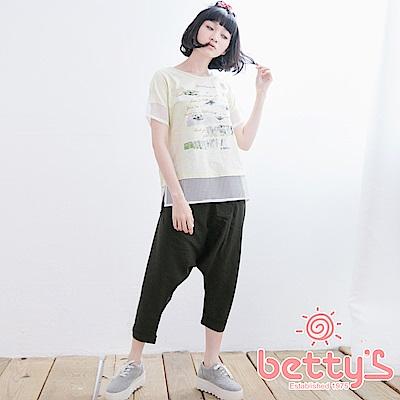 betty's貝蒂思 側排鈕釦造型棉麻飛鼠褲(深綠)