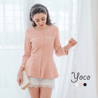 東京著衣-yoco 時尚名媛珍珠線條小香外套-S.M.L(共三色)
