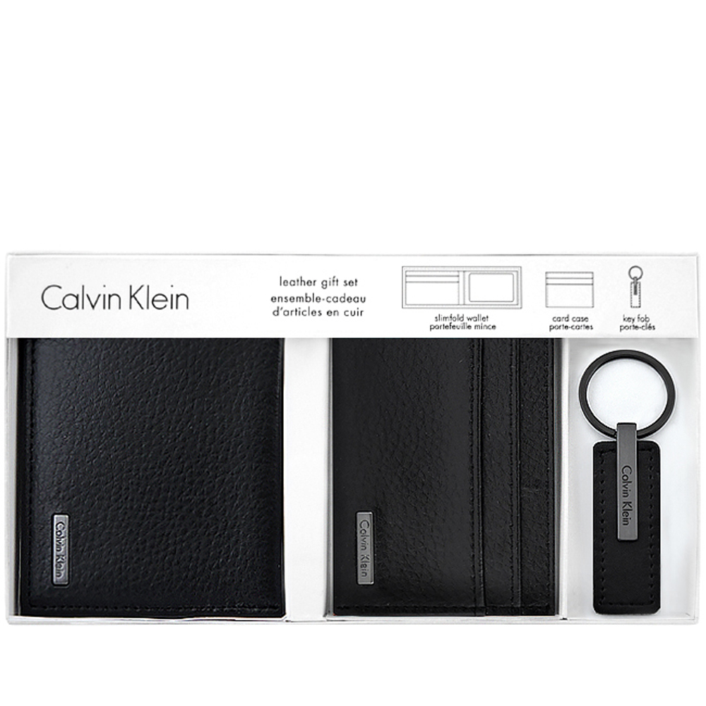 Calvin Klein 黑色皮革壓紋雙摺五卡短夾-附名片夾及鑰匙圈