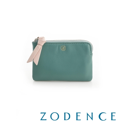 ZODENCE 義大利羊皮柔軟拉鍊帶設計零錢包 綠