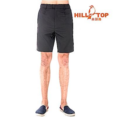 【hilltop山頂鳥】男款抗UV超潑水彈性短褲S09M67-瑪瑙黑