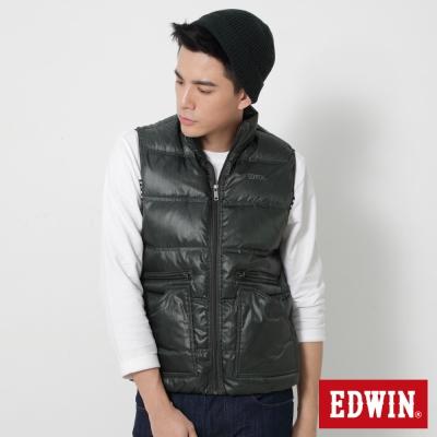 EDWIN雙口袋立領羽絨背心-男-苔綠