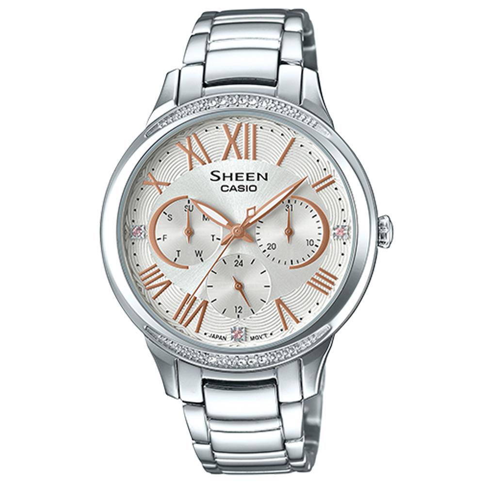 SHEEN優雅迷人風采羅馬數字時刻腕錶(SHE-3058D-7)銀X玫瑰金時刻36mm