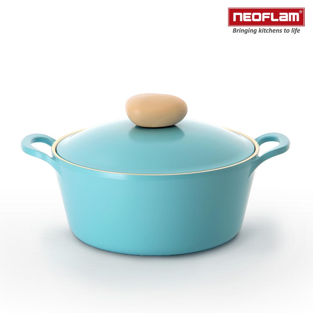 韓國NEOFLAM Retro系列 22cm陶瓷不沾湯鍋+陶瓷塗層鍋蓋