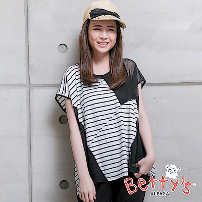 betty's貝蒂思 簡約背心+條紋格網上衣(黑色)