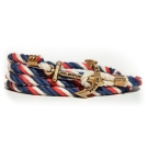 Kiel James Patrick 美國手工船錨棉麻繩多圈手環 雙色藍白紅編織