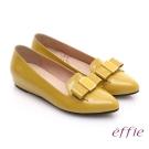 effie 輕透美型 真皮蝴蝶結飾尖楦內增高平底鞋 黃色
