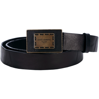 DOLCE & GABBANA 仿舊壓痕設計皮革腰帶(黑色)