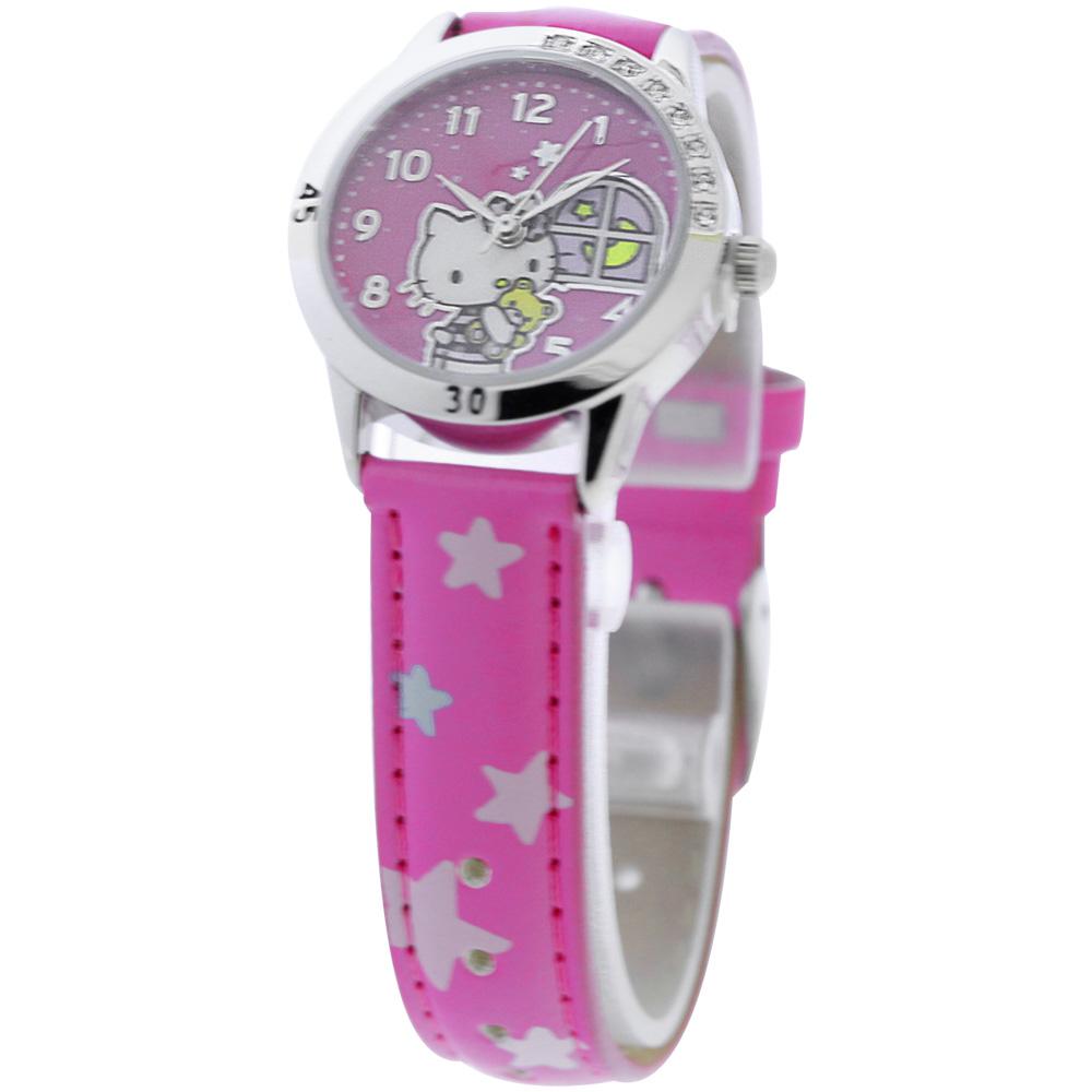 Hello Kitty 午夜冒險晶鑽腕錶-桃紅/28mm