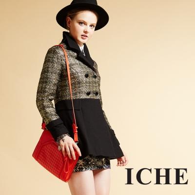 ICHE衣哲 雙排釦翻領羊毛造型長版外套