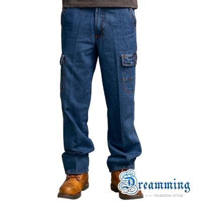 Dreamming 簡約多口袋單寧直筒工作褲