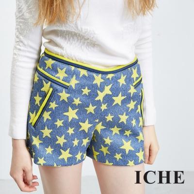 ICHE-衣哲-星星合身牛仔單寧短褲