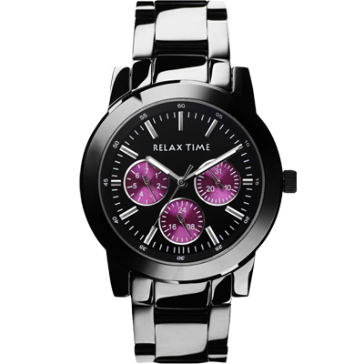 Relax Time 炫彩中性日曆腕錶-紫x黑/38mm