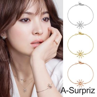 A-Surpriz 太陽的後裔100%925銀鑲鑽太陽花手鍊(3色選)
