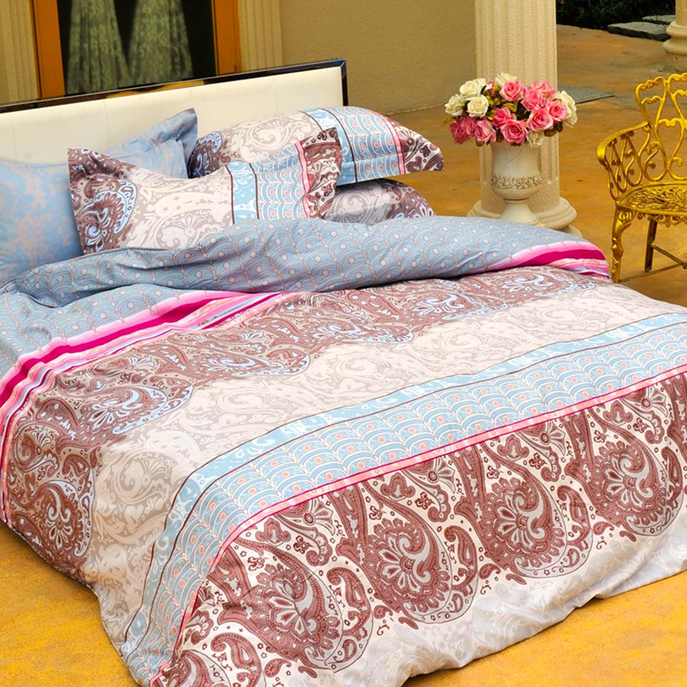 義大利La Belle《極光之影》加大四件式貢緞兩用被床包組