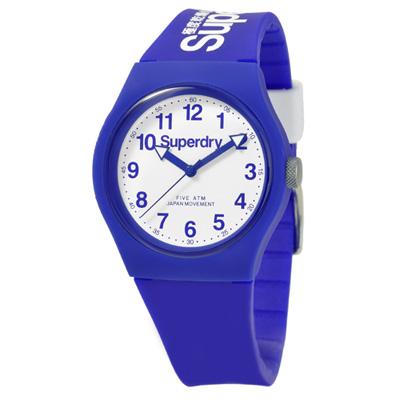 Superdry 極度乾燥 多彩 矽膠 運動腕錶-藍帶/白面/37mm