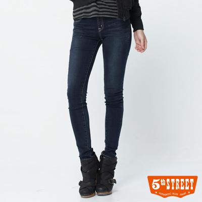 5th STREET 完美指標 彈力鬆緊窄直筒牛仔褲-女款(酵洗藍)