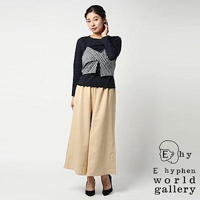 E hyphen SET ITEM 層次拼布上衣+腰際鬆緊寬褲裙